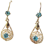 Stunning 14K Topaz Filigree Dangle Earrings Vintage