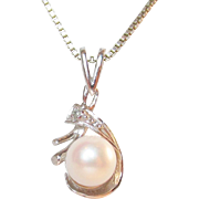 14K White Gold Cultured Pearl and Diamond Vintage Pendant