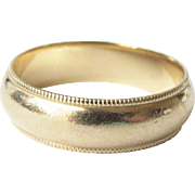 14k 6.0mm Yellow Gold Men's Milgrain Wedding Band Ring Estate