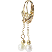 14k Gold Pearl Drop Dangle Earrings - Estate