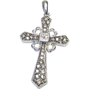 14k White Gold 3.56 g Cross 31 Diamond (.41ctw) Pendant