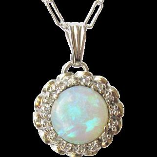 14k White Gold Opal Diamond Pendant 4 grams