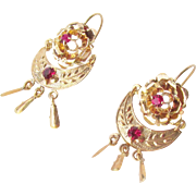Victorian 15kt Gold and Ruby Drop Dangle Earrings Antique Ca 1890