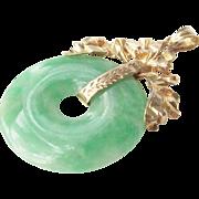 18K Gold Jade Pendant 8.05 grams Vintage Stunning Ca 1955