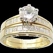 18Kt Yellow Gold Diamond Wedding and Engagement Ring Set Estate
