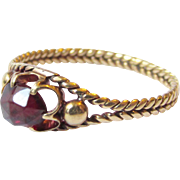 20K Gold Antique Victorian Rose Cut Garnet Wheat Band Ring