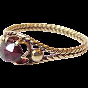 20K Gold Antique Victorian Rose Cut Garnet Wheat Band Ring