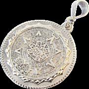 850 Mexico Silver Mayan Calendar Pendant Vintage 12.8gr