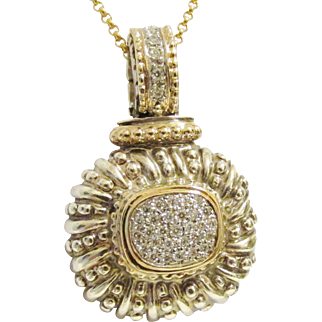 Alwand Vahan 14K Sterling Diamond Pendant Ca. 1980's