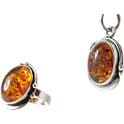 Vintage Art Nouveau Design Baltic Amber Sterling Ring and Pendant Set
