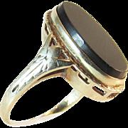 Antique ca 1915 Edwardian / Art Deco 14K Gold Onyx Ring