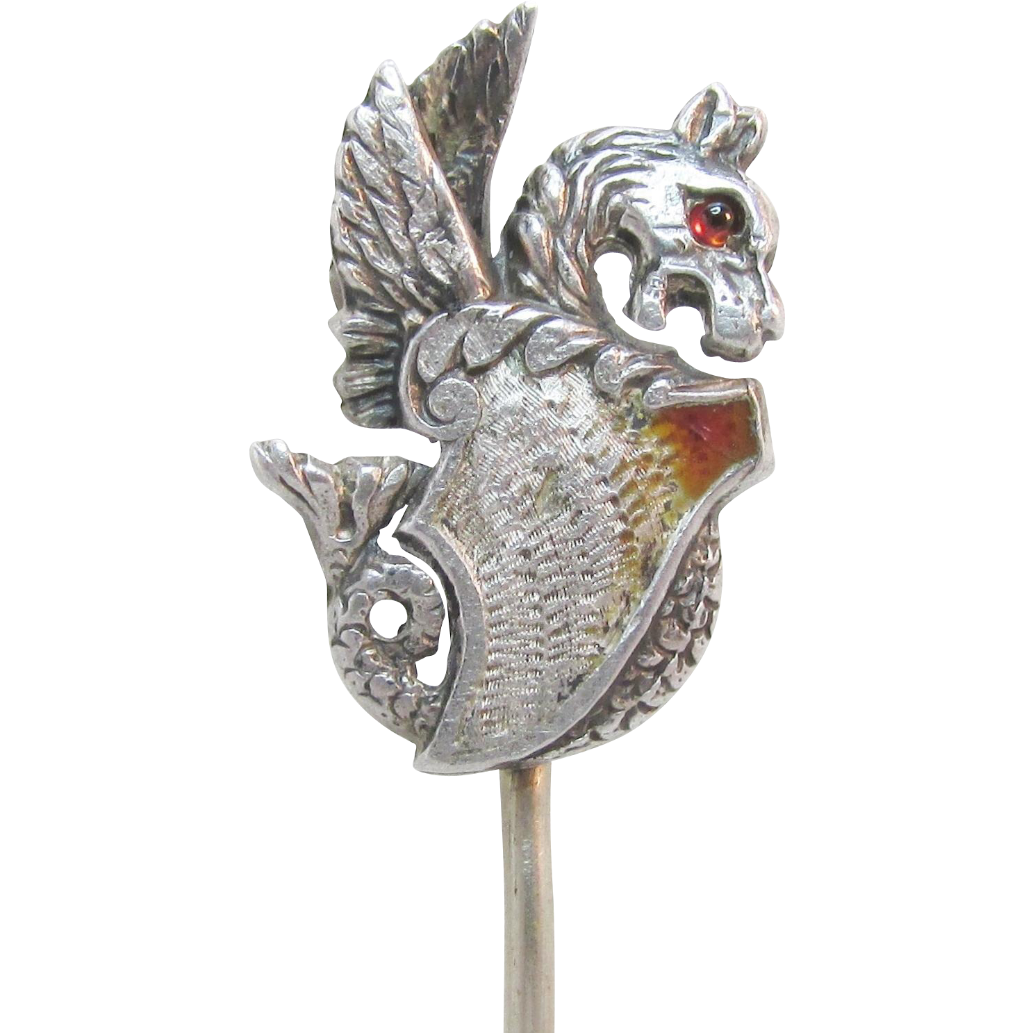 Art Nouveau Dragon Griffin Sterling Hat Stick Scarf Pin Ca 1900 Antique