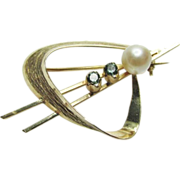 Austrian Retro 14K Yellow Gold Cultured Pearl Tourmaline Brooch Pin Vintage