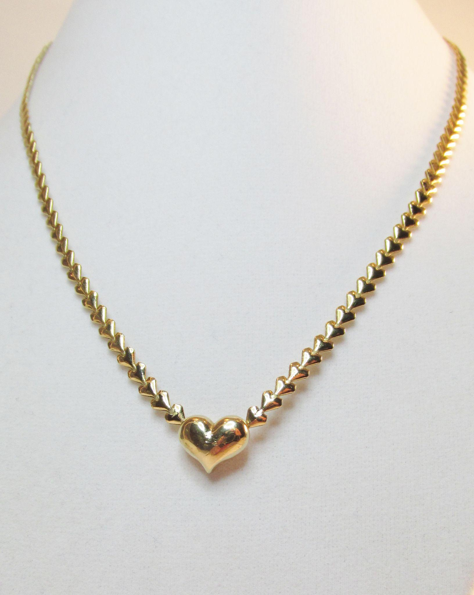 Avon Gold Tone Heart Necklace Vintage from ninas on Ruby Lane