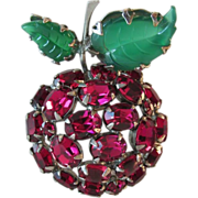 Unsigned SCHREINER Cherry Apple Fruit Brooch Vintage