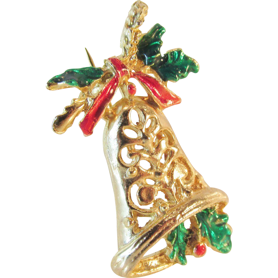 Vintage christmas holiday bell brooch with enameling from ninas on