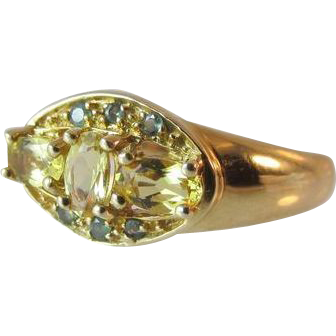 Estate 14k Yellow Gold Citrine and Tourmaline Ring