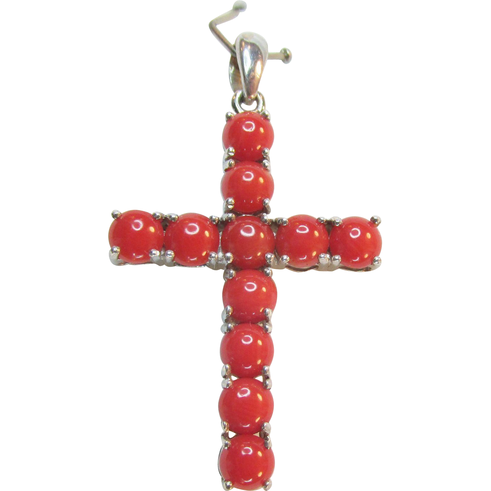 Sterling Coral Cross Pendant Vintage