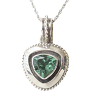 Exquisite R Coriz Sterling Green Tourmaline Pendant Vintage Santo Domingo