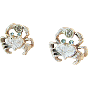 Sterling Crab Earrings With Rhinestones Adorable Vintage
