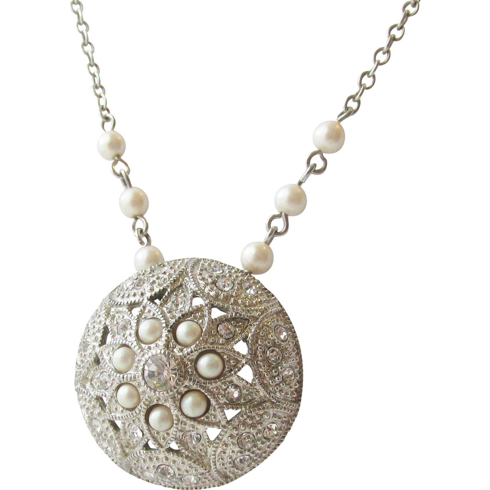 spectacular crown trifari pendant necklace estate from