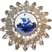 Signed Delft 835 Silver Filigree Windmill Porcelain Brooch Vintage
