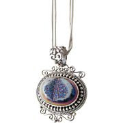 Sterling Druzy Pendant with Double Sterling Chain Estate