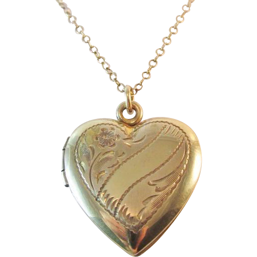 Signed 1/20 12K GF Sterling Heart Pendant Locket Necklace Original Box Vintage