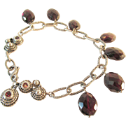 Garnet Briolette and Sterling Bracelet 25 Grams Vintage
