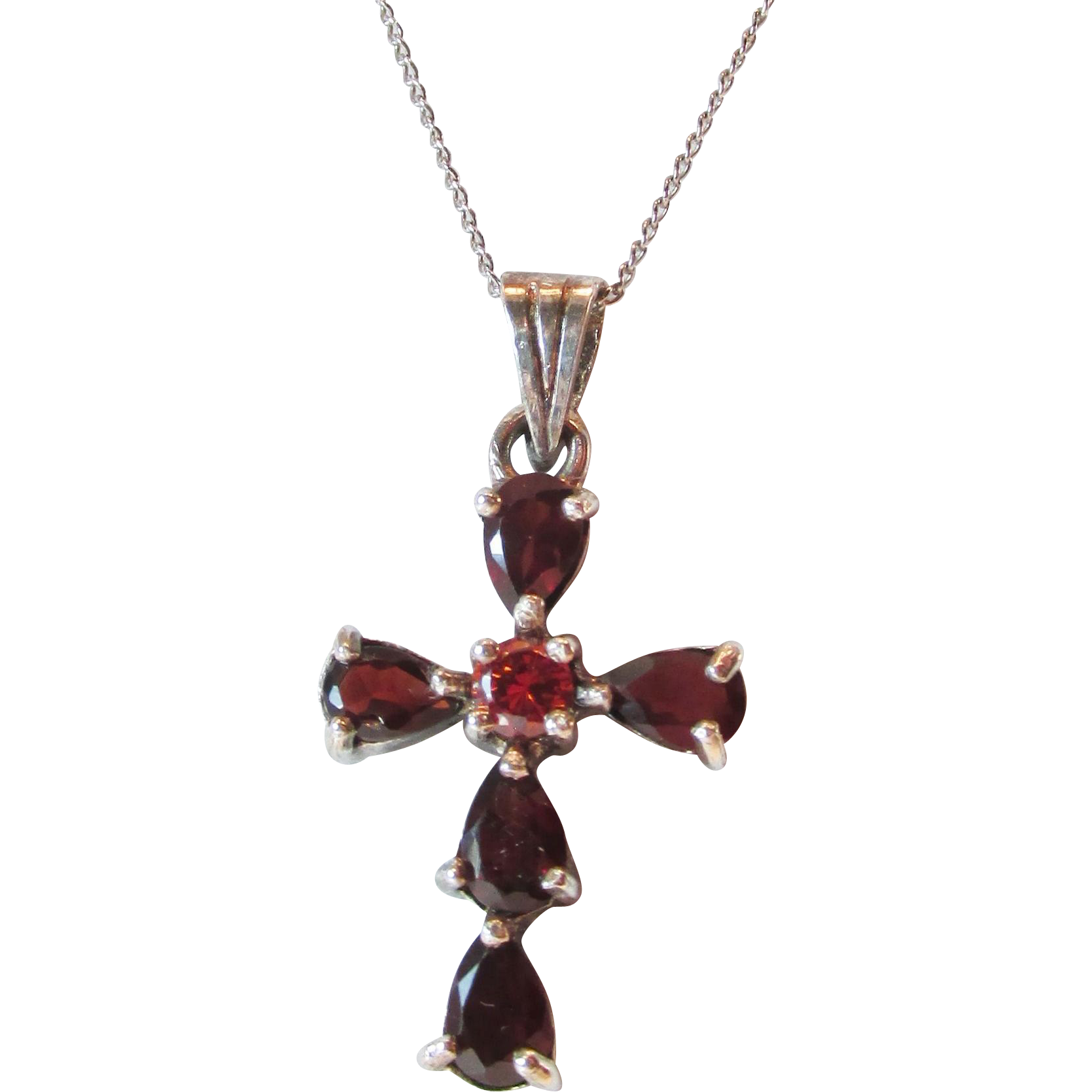 Vintage Garnet Sterling Cross Pendant