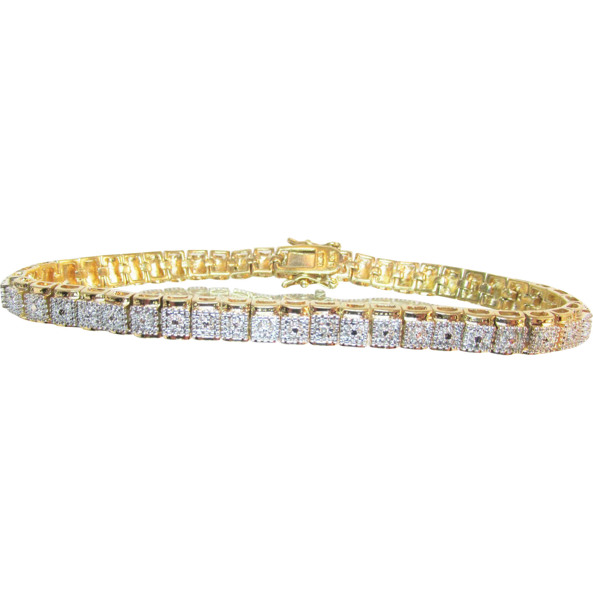 Fabulous Heavy Gold Plated Sterling Tennis Bracelet Estate