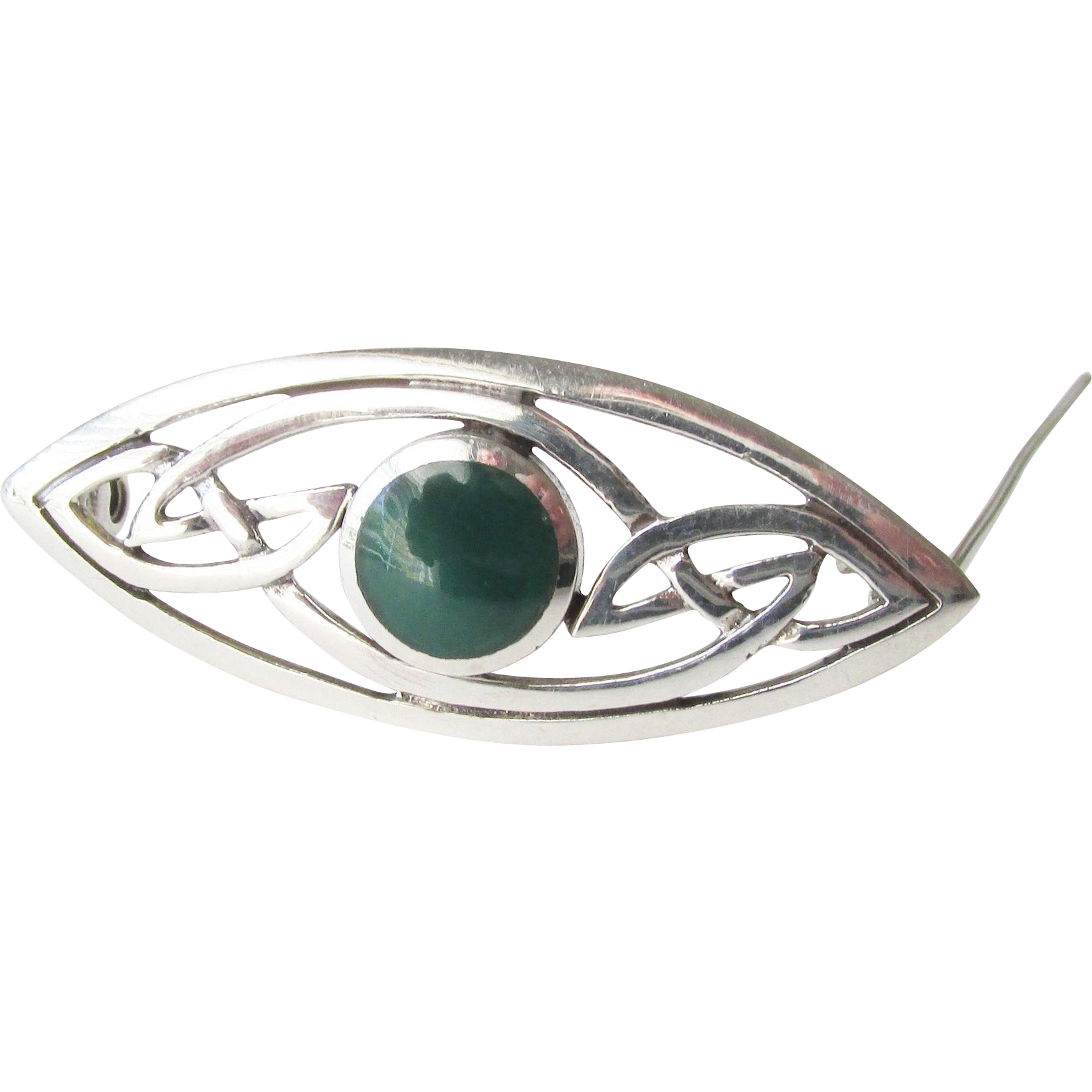 Chrysoprase Sterling Modernist Vintage Brooch Danish Circa 1955
