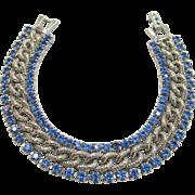Signed Kramer Blue Rhinestone Bracelet Vintage