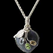 Lapis Topaz Peridot Cetrine Sterling Heart Pendant Vintage 15.33 grams