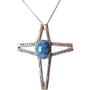Native American Lapis Sterling Cross Pendant Vintage 8.80 grams