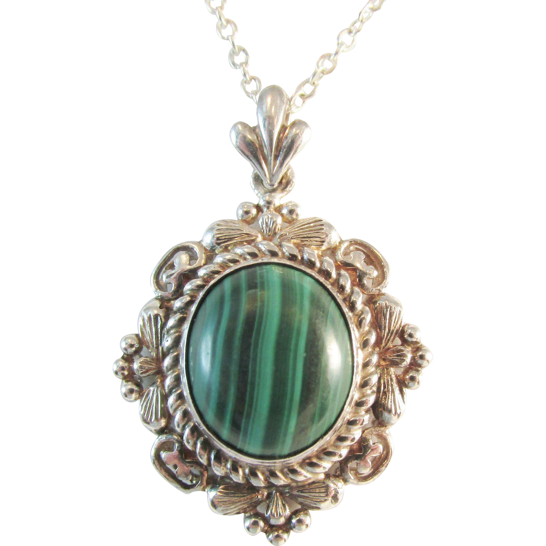 signed malachite sterling silver pendant vintage from