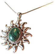 Large Malachite Sterling Sun Pendant Vintage 9.22 grams