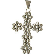 Large Mexican Sterling Floral / Flower Cross Pendant Vintage