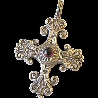 Mexican Sterling Cross Garnet Signed Pendant Vintage