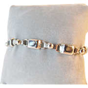 Mexico Sterling Abalone Inlay Bracelet Vintage