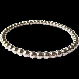 Sterling Mexico Beaded Bangle Bracelet Vintage