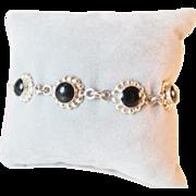 Signed Mexico Sterling Onyx Flower Bracelet Vintage