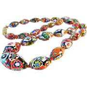 Millefiore Italian Glass Oval Bead Necklace Vintage