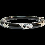 Rare Milor Italy Stering Black Enamel Hinged Bangle Bracelet Vintage