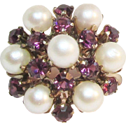 Antique Pearl Amethyst 9K Princess Ring