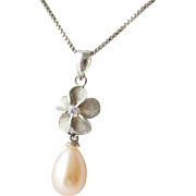 Cultured Pearl Diamond Sterling Flower Pendant Vintage