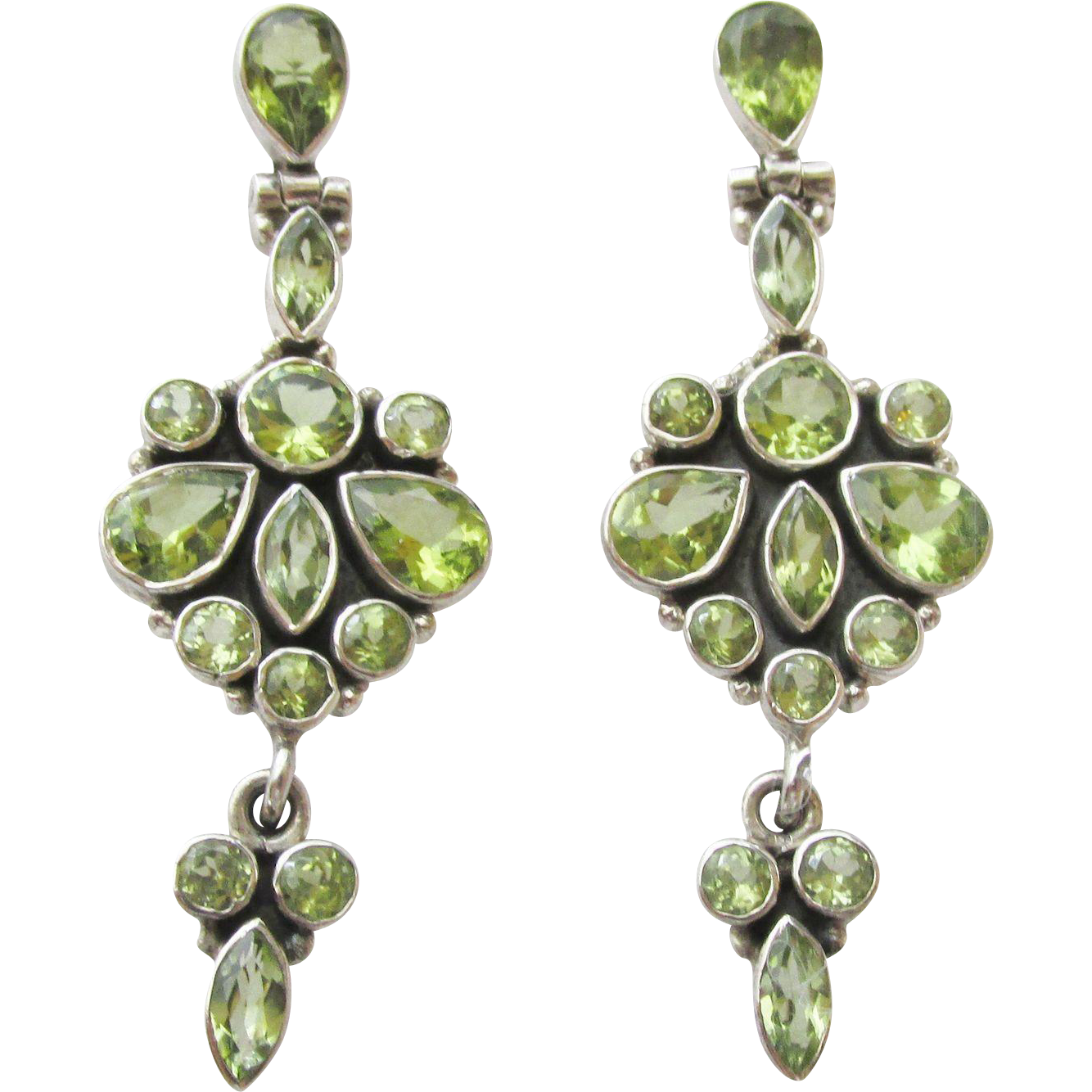 Fabulous Sterling Peridot Chandelier Pierced Earrings Vintage