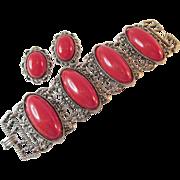 Vintage Red Chunky Link Bracelet & Earring Set Ca 1950
