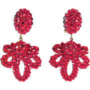 Signed Richard Kerr Ruby Red Rhinestone Earrings Vintage Outrageous!!