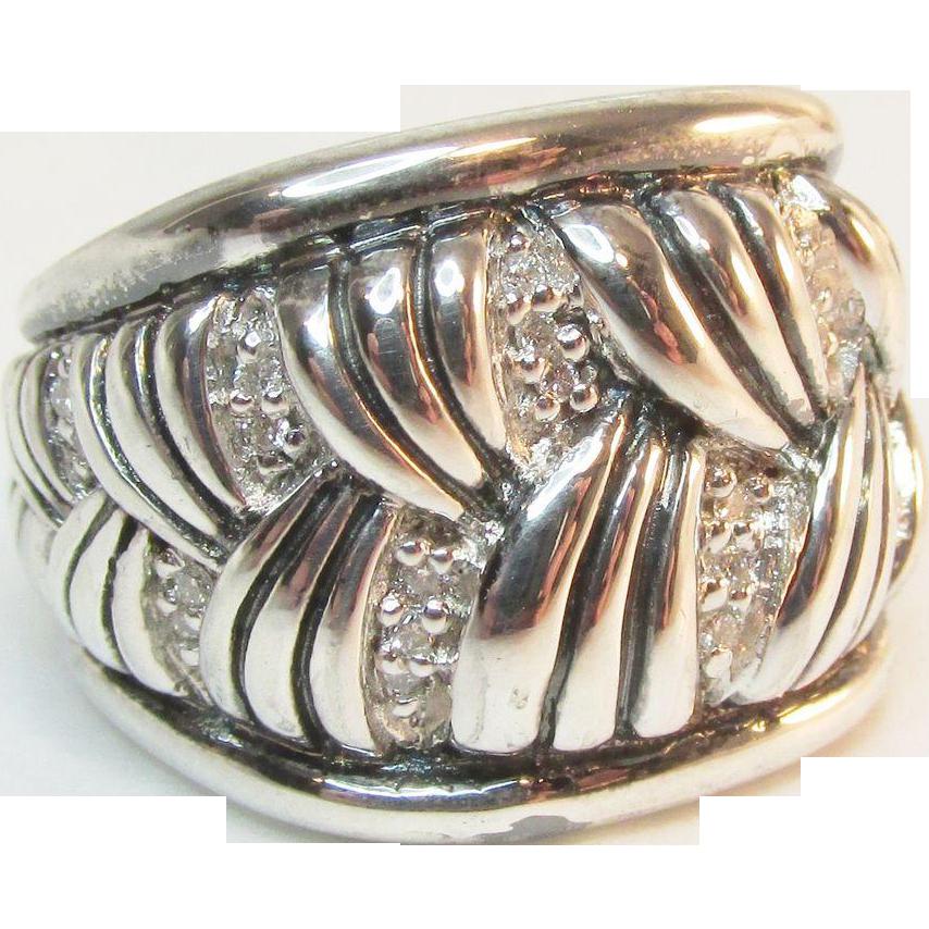 Signed Scott Kay Sterling Diamond Ring Wide Fan Weave 21.9 Grams